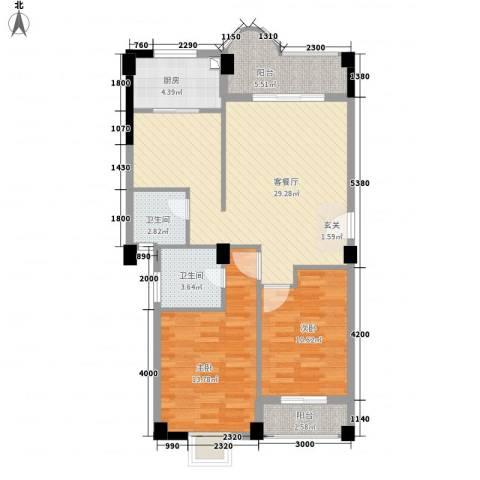 幸福里2室1厅2卫1厨104.00㎡户型图