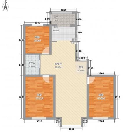 世茂五里河花园3室1厅1卫0厨112.00㎡户型图