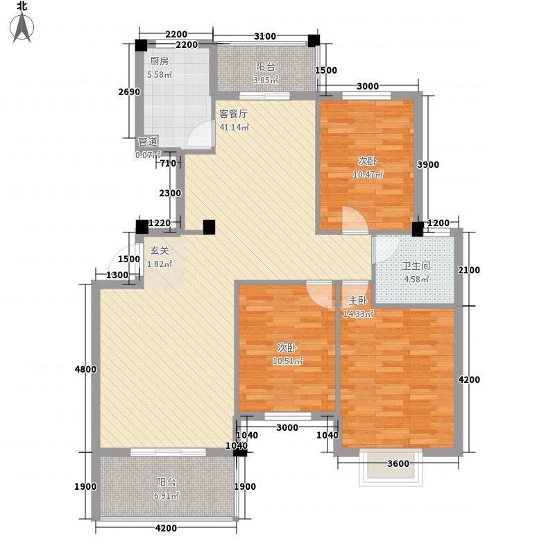 碧水华庭126.00㎡B2户型3室2厅1卫1厨
