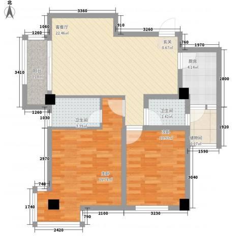 时代财富城2室1厅2卫1厨65.57㎡户型图