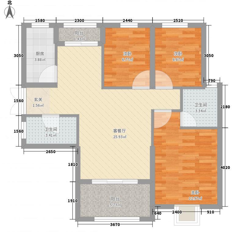 龙汇・学源居12.27㎡K户型3室2厅2卫1厨