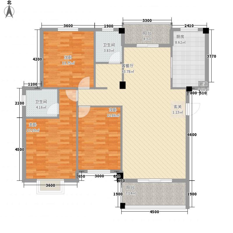 碧水华庭13.00㎡M户型3室2厅2卫1厨