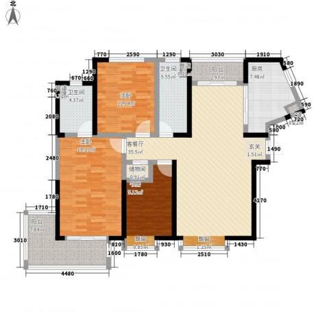 香港映象二期3室1厅2卫1厨152.00㎡户型图