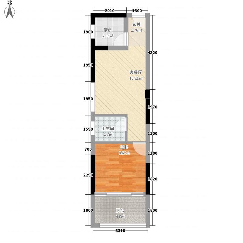 华辰汇景二期48.38㎡A1、A2、A3、A4户型1室1厅1卫1厨