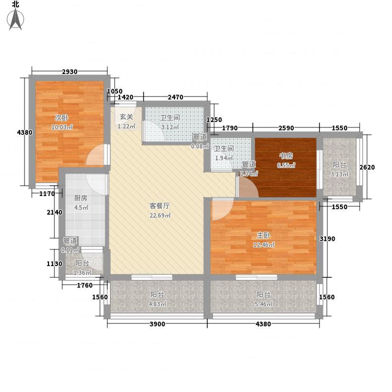 帝都温泉花园111.77㎡23#楼2305户型3室2厅2卫1厨