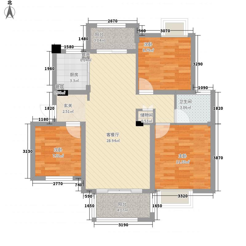 观山别院13.00㎡B户型3室2厅1卫1厨