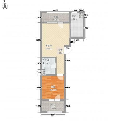 朗诗国际街区1室1厅1卫1厨65.00㎡户型图