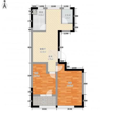 朗诗国际街区2室1厅1卫1厨87.00㎡户型图