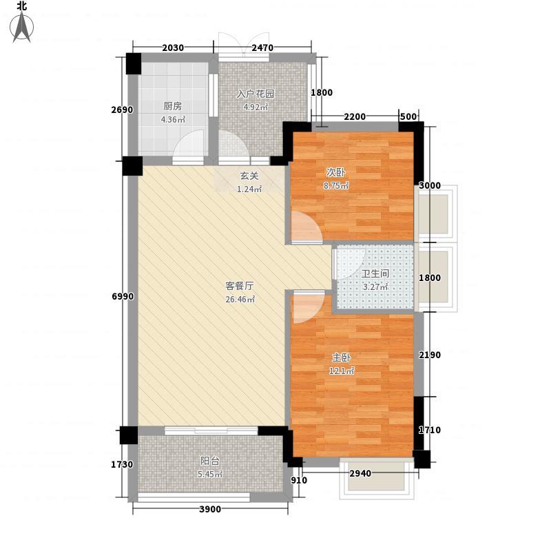 鸿景新城77.00㎡C户型2室2厅1卫1厨