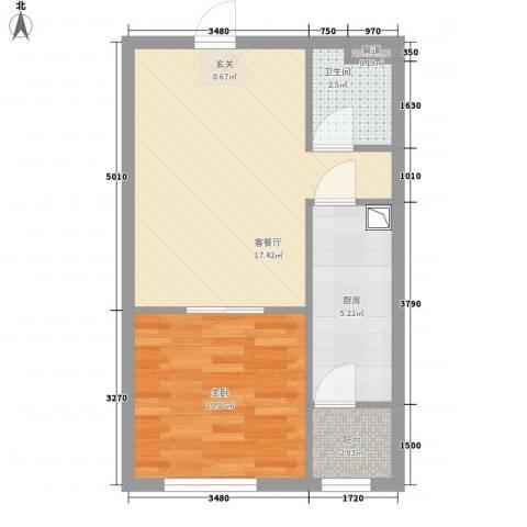 皇家壹里1室1厅1卫1厨54.00㎡户型图