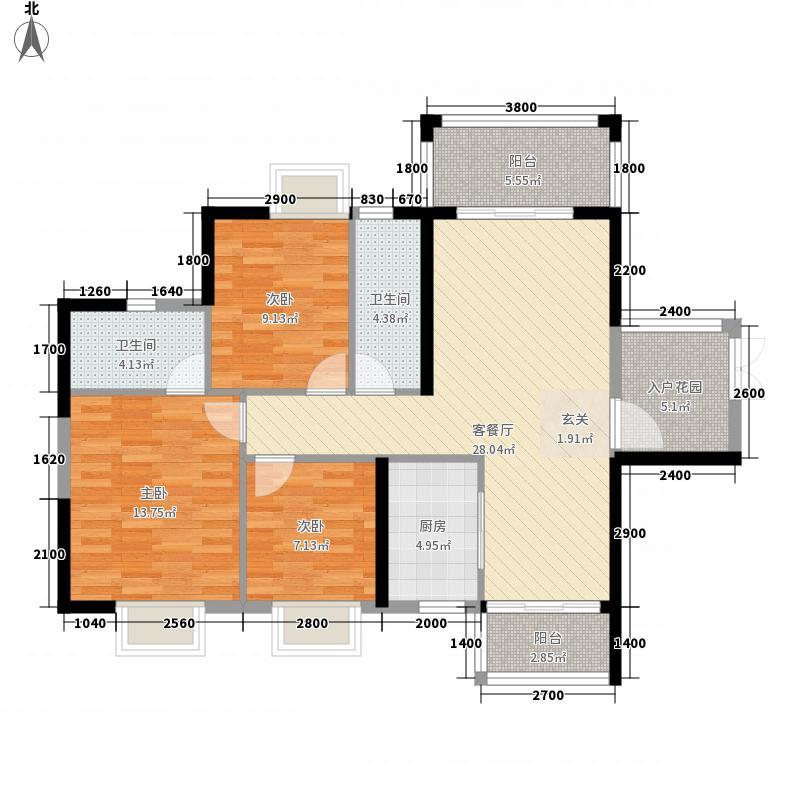 金裕世家1.48㎡E栋01装修示范平面图户型