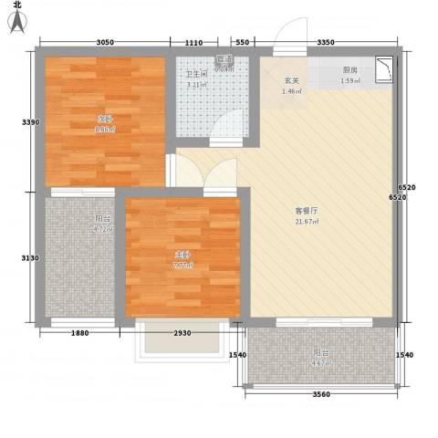 苏荷公寓2室1厅1卫0厨51.09㎡户型图
