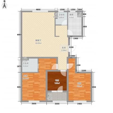 朗诗国际街区3室1厅2卫1厨133.00㎡户型图