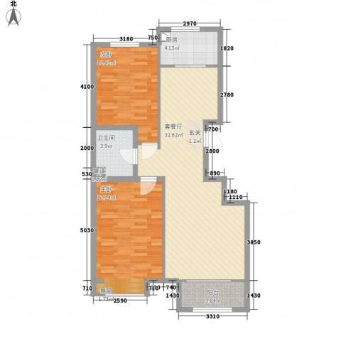 皇家壹里2室1厅1卫1厨74.34㎡户型图