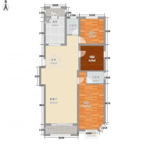 联通格林小镇3室1厅2卫1厨104.85㎡户型图