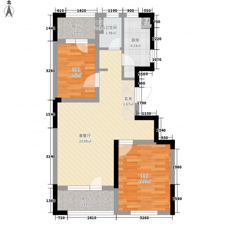 朗诗国际街区8.00㎡B8户型2室2厅1卫1厨