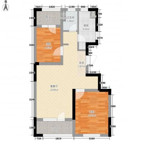 朗诗国际街区2室1厅1卫1厨54.22㎡户型图