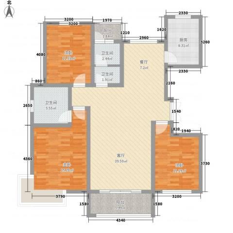 新城国际3室1厅3卫1厨146.00㎡户型图