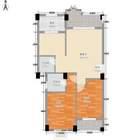 幸福里2室1厅2卫1厨103.00㎡户型图
