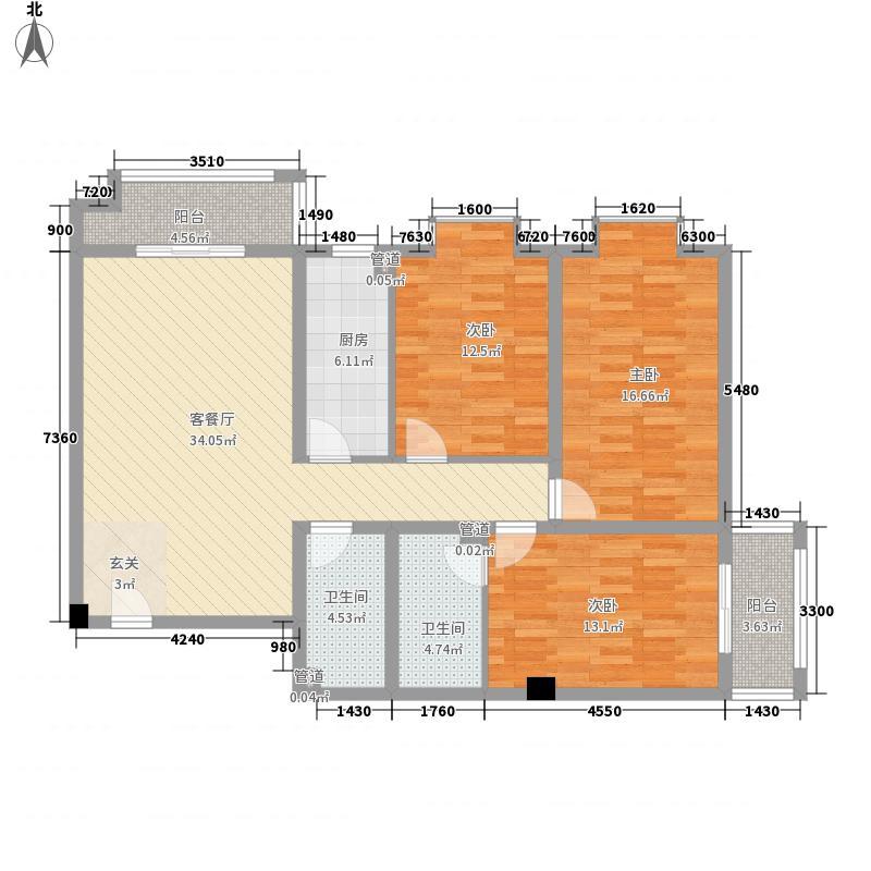 帝都温泉花园143.17㎡23#楼2301户型3室2厅2卫1厨