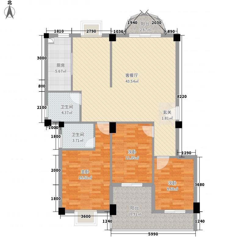 幸福里1号楼B户型3室2厅2卫1厨