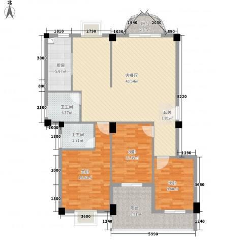 幸福里3室1厅2卫1厨150.00㎡户型图