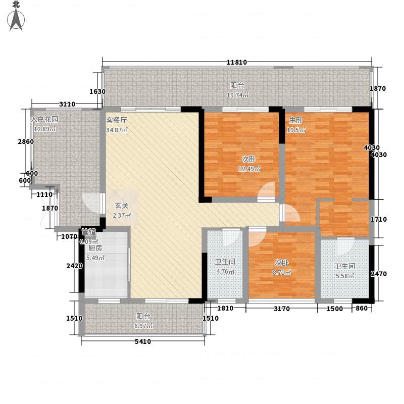 峨眉河畔・河畔明珠3室1厅2卫1厨133.00㎡户型图