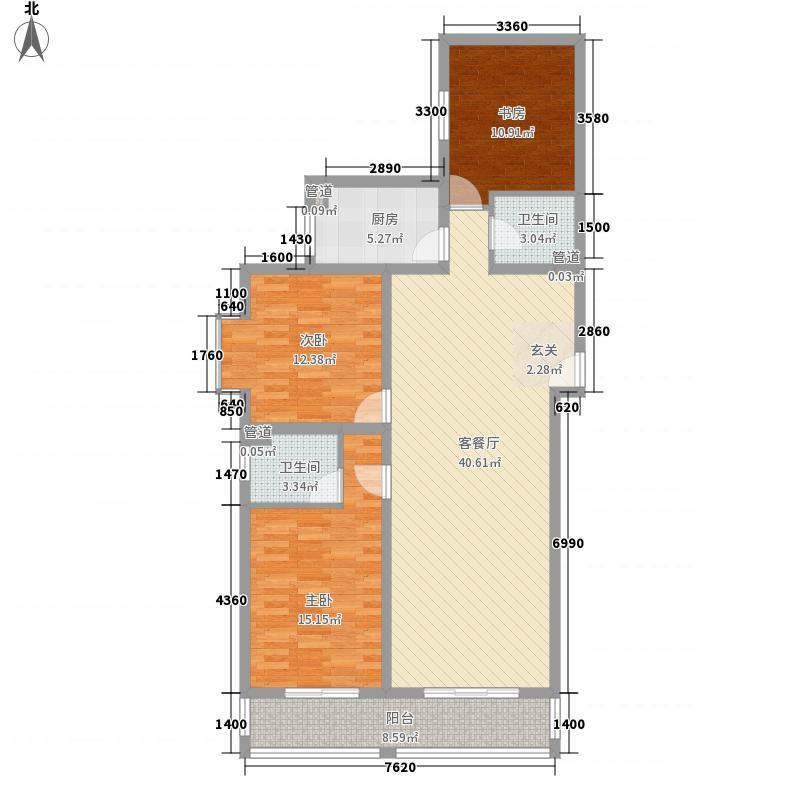 帝都温泉花园141.51㎡22#楼2207户型3室2厅2卫1厨