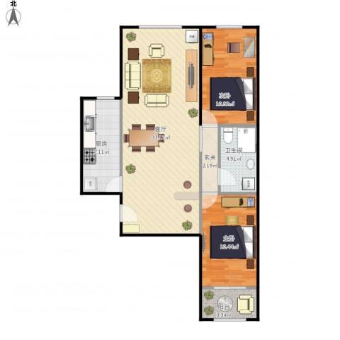 峪园小区2室1厅1卫1厨97.00㎡户型图