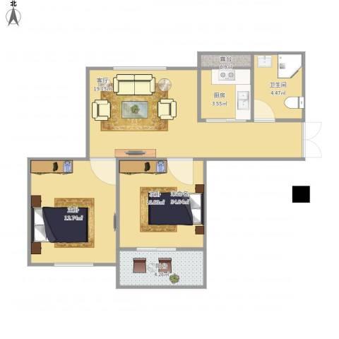 清水绿园2室1厅1卫1厨76.00㎡户型图