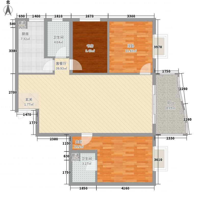 方源广场13.60㎡B1-6-3户型3室2厅2卫1厨