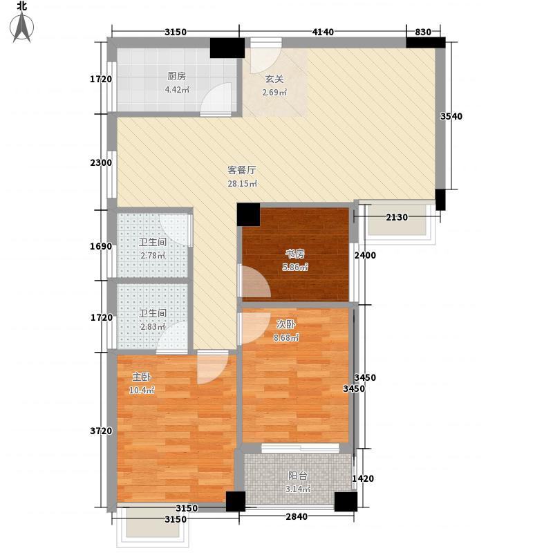 华友第一城3234.20㎡3#02、03户型3室1厅1卫1厨