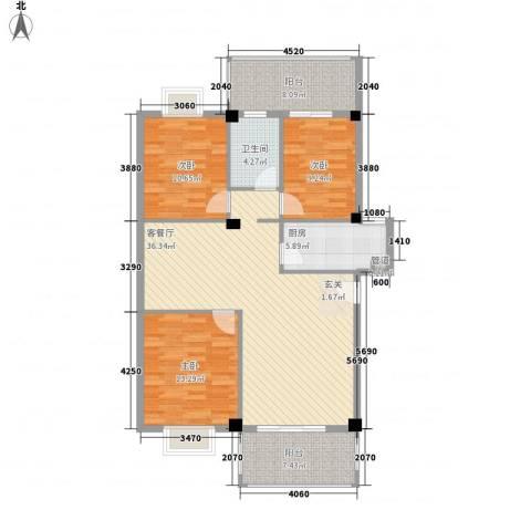 印象后街(鸿禧花园)3室1厅1卫1厨95.31㎡户型图