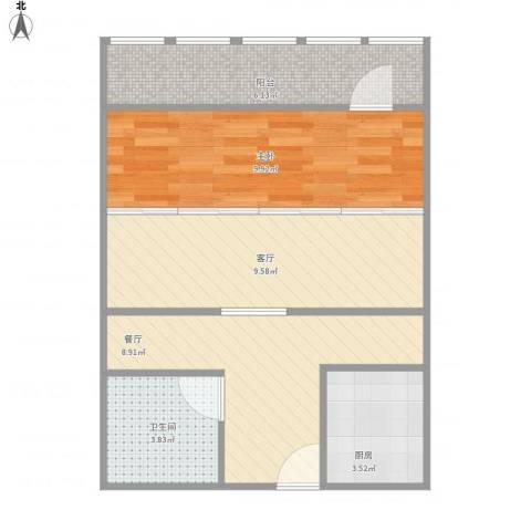 太平桥东里1室2厅1卫1厨58.00㎡户型图