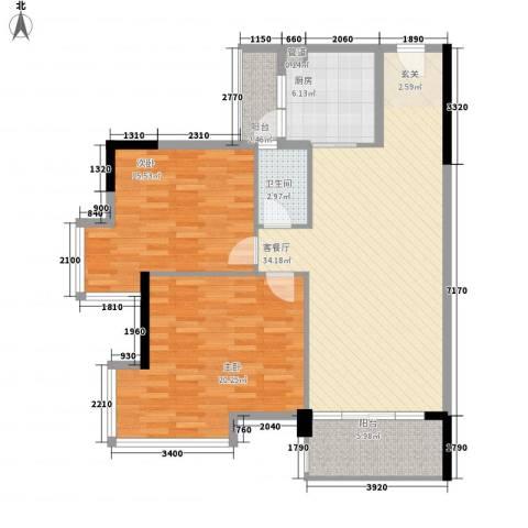 瑶芳花园2室1厅1卫1厨87.64㎡户型图