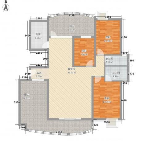 桃源居3室1厅2卫1厨135.00㎡户型图