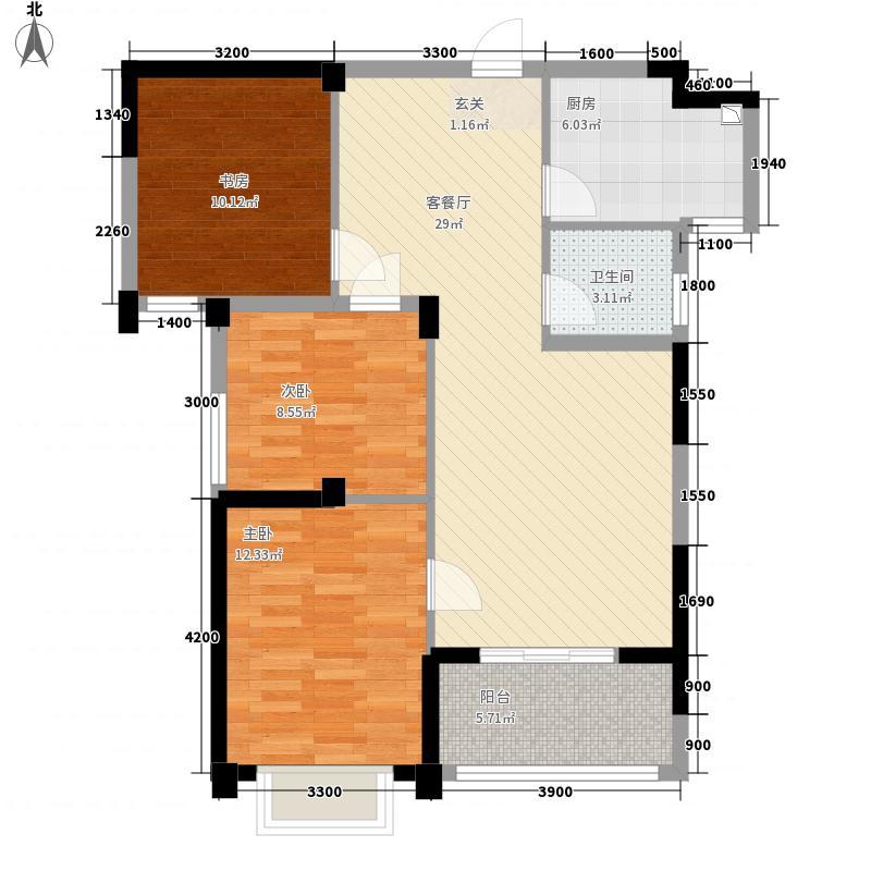 瑞都山水御园11.20㎡户型2室2厅1卫1厨
