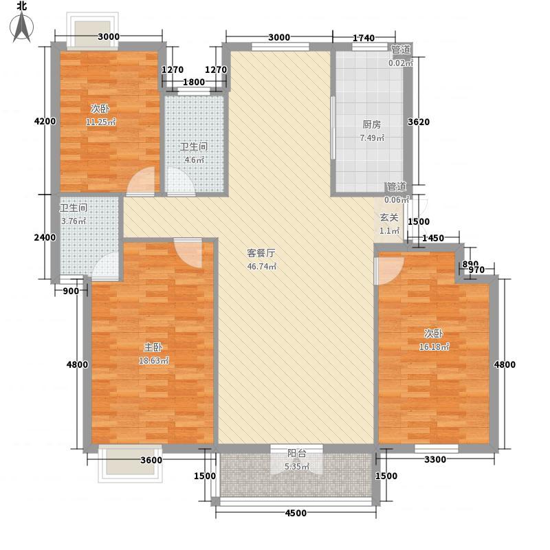 御龙兴景143.81㎡L户型3室2厅2卫1厨