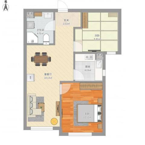 中信・御园2室1厅2卫1厨75.00㎡户型图