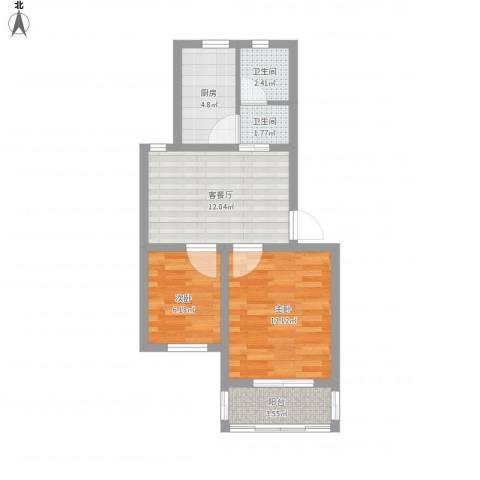 宝邻苑2室1厅2卫1厨57.00㎡户型图