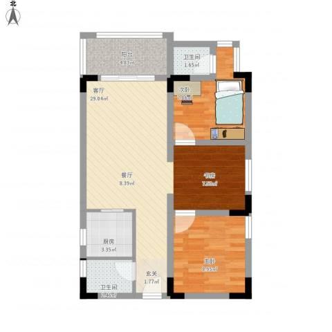 南新悦城2室1厅2卫1厨85.00㎡户型图