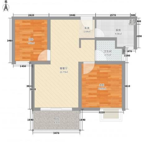 石湖华城2室1厅1卫1厨75.00㎡户型图