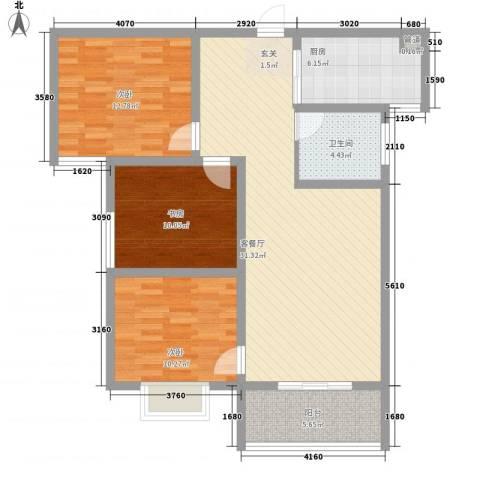金色维也纳3室1厅1卫1厨117.00㎡户型图