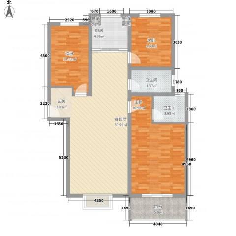 金色维也纳3室1厅2卫1厨141.00㎡户型图
