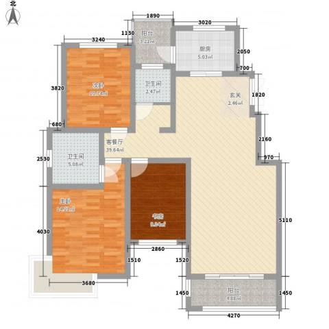 新城国际3室1厅2卫1厨136.00㎡户型图