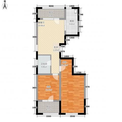 朗诗国际街区2室1厅1卫1厨70.40㎡户型图