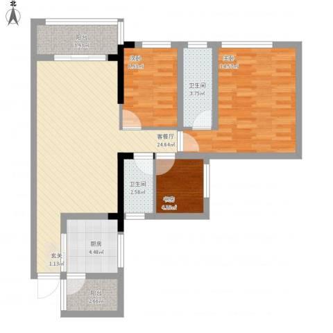 唯美嘉园3室1厅2卫1厨100.00㎡户型图