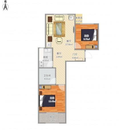 中央峰景B区2室1厅1卫1厨85.00㎡户型图