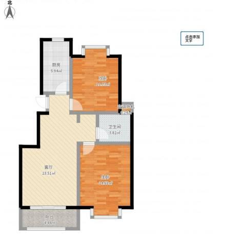 绿地东上海2室1厅1卫1厨92.00㎡户型图