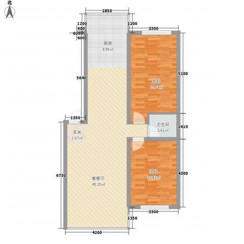 城基绿色家园2室1厅1卫0厨76.02㎡户型图